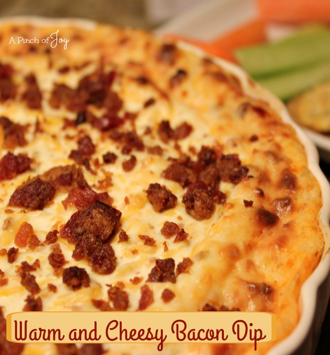 Warm and Cheesy Bacon Dip -- A Pinch of Joy