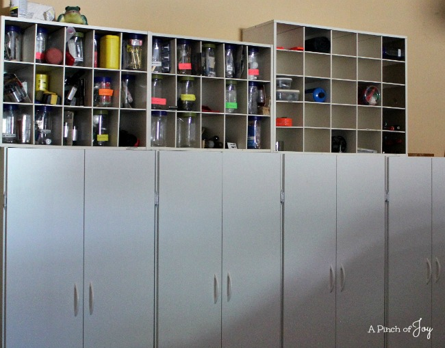 1Garage Storage 4 cabinets and some cubbies-- A Pinch of Joy