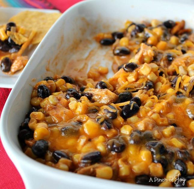 Cheesy Chicken Enchilada dip -- A Pinch of Joy