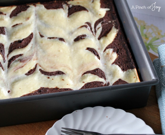 Cheesecake Brownies in the Pan -- A Pinch of Joy