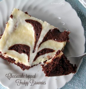 Cheesecake topped Fudgy Brownie -- A Pinch of Joy