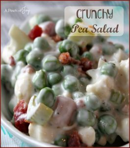 Crunchy Pea Salad with creamy ranch dressing and bacon -- A Pinch of Joy