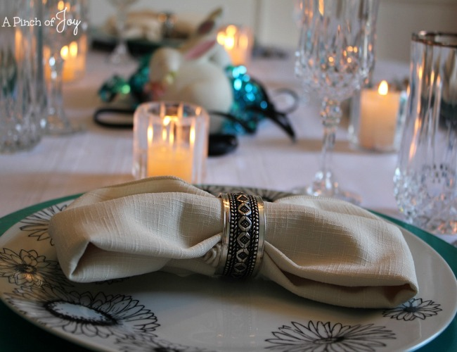 Black, blue and white tablescape -o- A Pinch of Joy