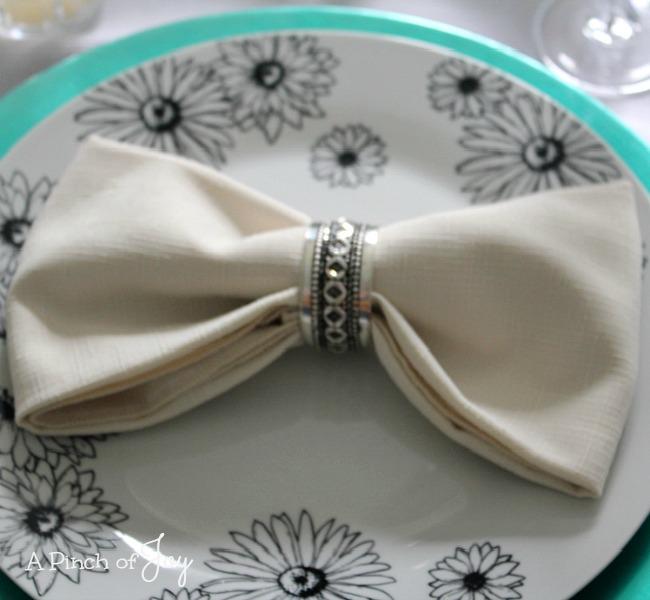 Bowtie Napkin Fold -o- A Pinch of Joy