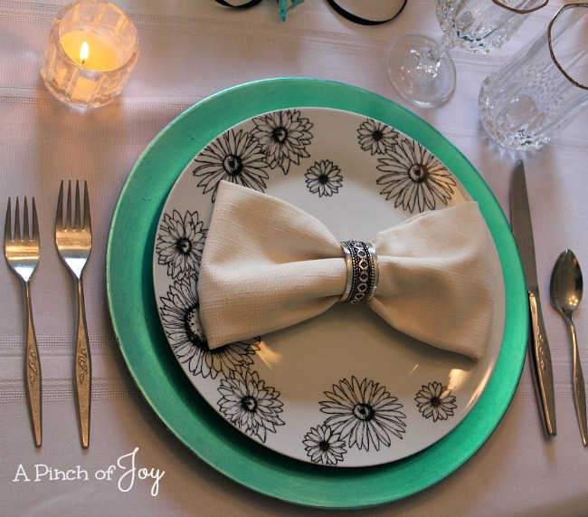 Place setting for Birthday tablescape -o- A Pinch of Joy