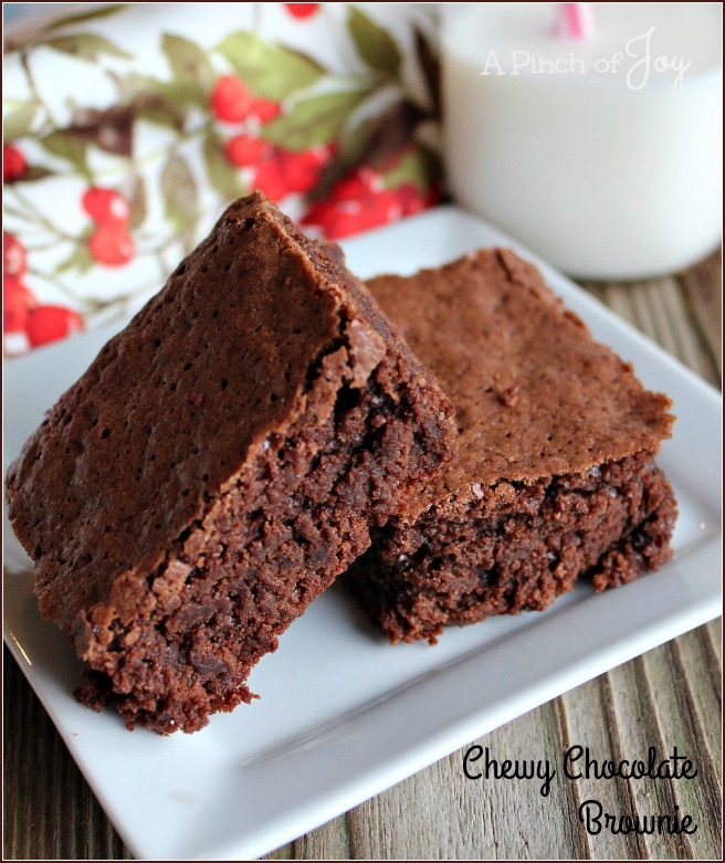 Chewy Chocolate Brownie -- A Pinch of Joy