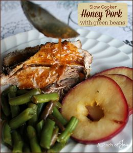 Slow Cooker Honey Pork with green beans