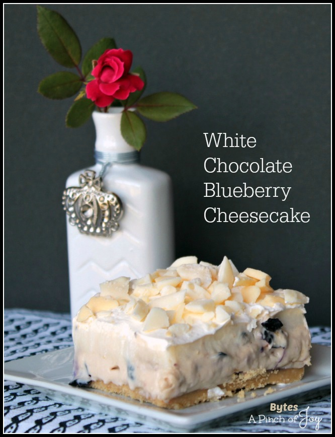 White Chocolate Blueberry Cheesecake -- A Pinch of Joy