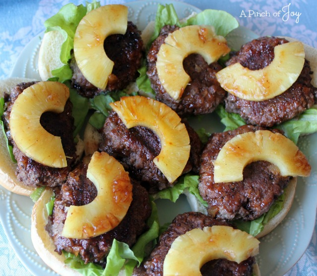 Platter of Hawaiian Party Burgers -- A Pinch of Joy