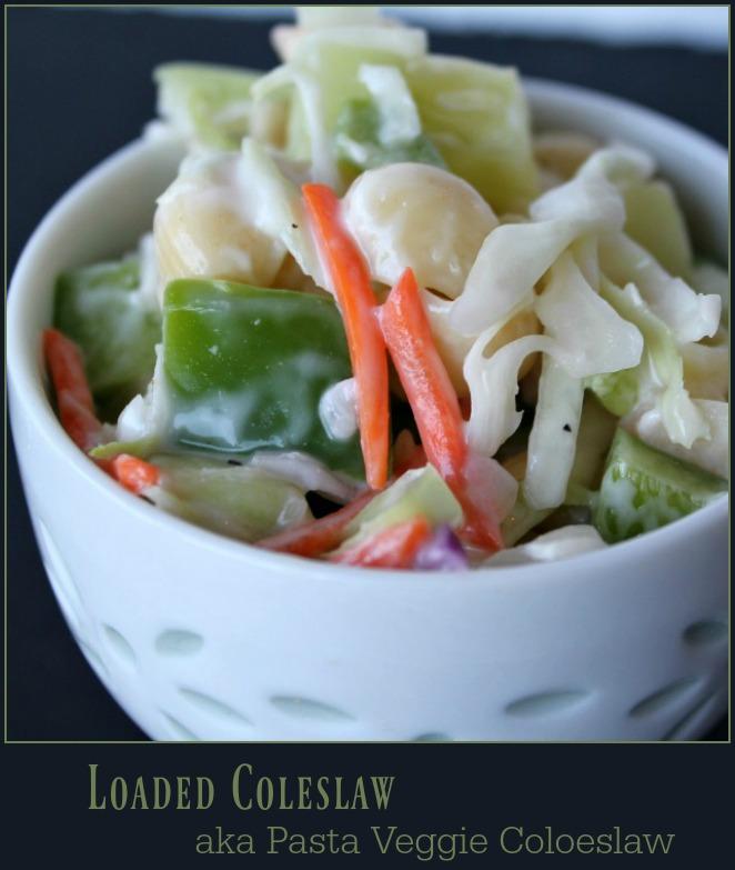 Loaded Coleslaw aka Pasta Veggie Coleslaw -- A Pinch of Joy