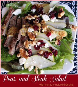 Beef and Pear Salad with honey mustard dressing