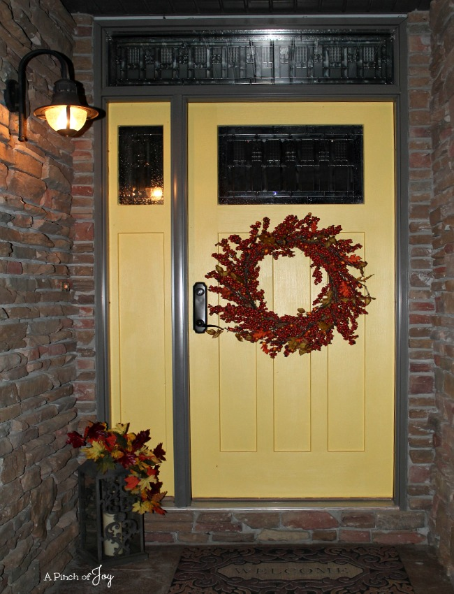 Front Door Makeover and the Five Stages of a DIY Project: Checking it out to see if you still like it! -- A Pinch of Joy