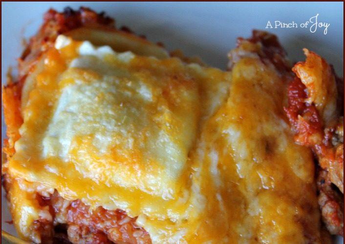 Cheesy Ravioli and Italian Sausage Bake