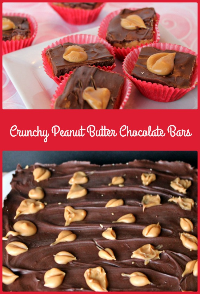 .Crunchy Peanut Butter Chocolate Bars topped with mini peanut butter hearts -- A Pinch of Joy