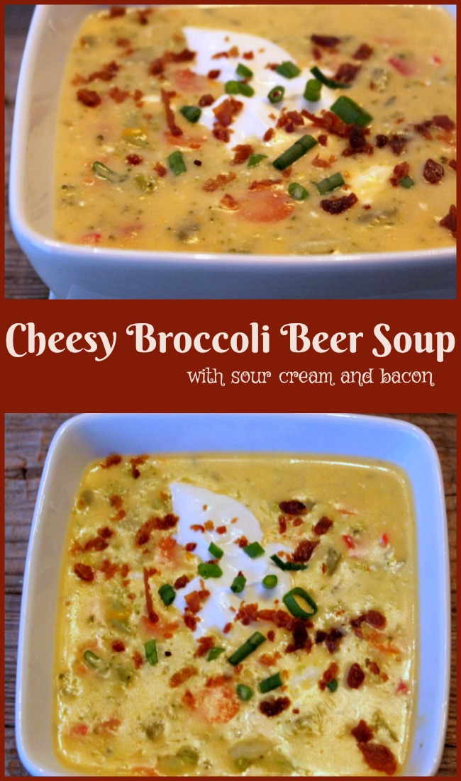 Cheesy Broccoli Beer Soup topped with sour cream and bacon -- A Pinch of Joy