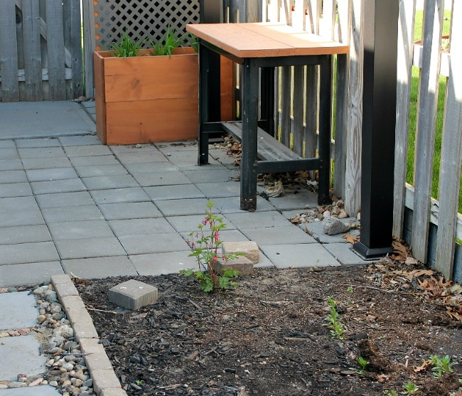 Small patio near back garage door