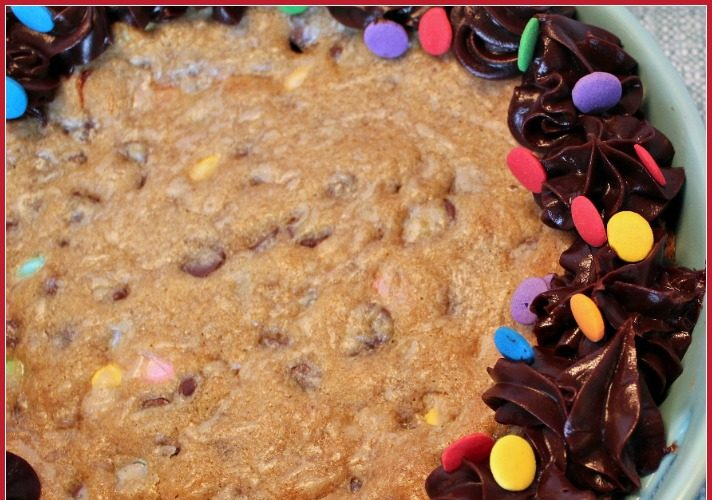 Loaded Giant Chocolate Chip Cookie Cake with Chocolate Ganache