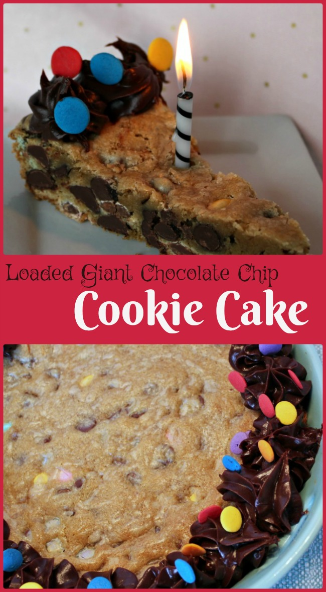 Loaded Giant Chocolate Chip Cookie Cake -- A Pinch of Joy Easy, rich and delicious -- the perfect celebration in a pan for any occasion!