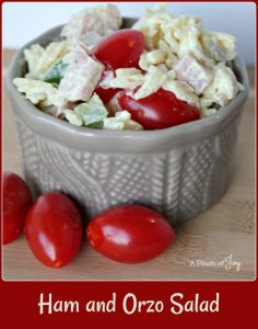 Ham and Orzo Salad with creamy mustard dressing -- A Pinch of Joy