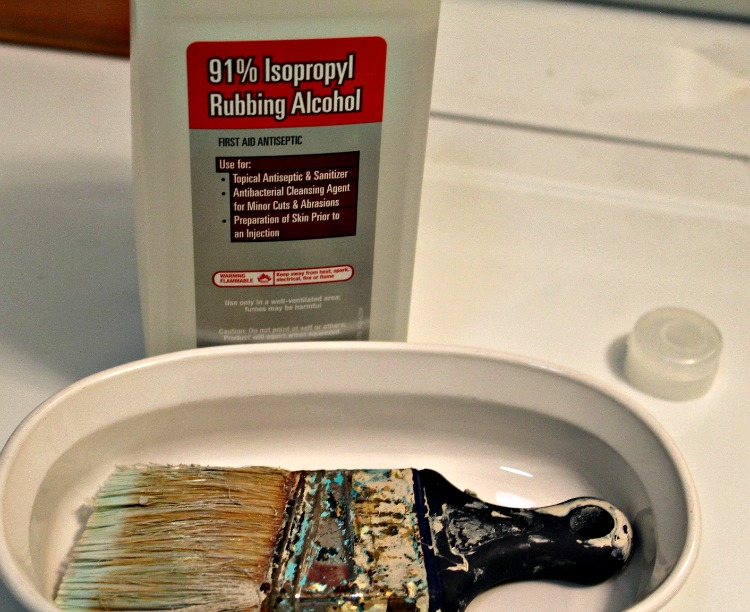 Soak brush in rubbing alcohol -- A Pinch of Joy