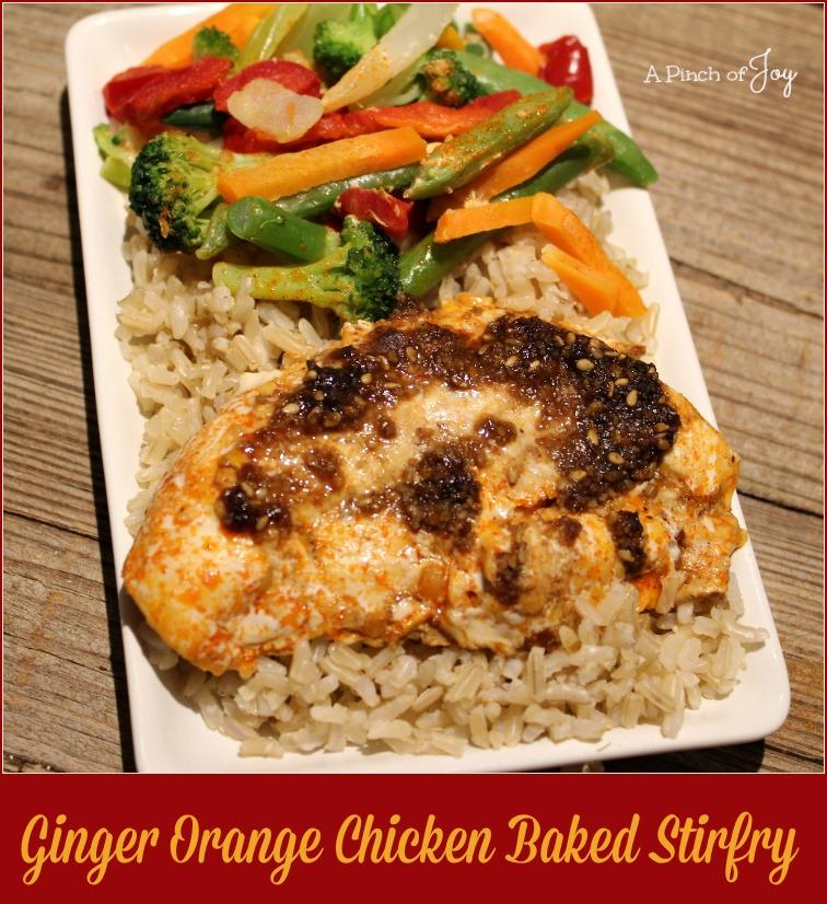 Ginger Orange Chicken Baked Stirfry -- A Pinch of Joy