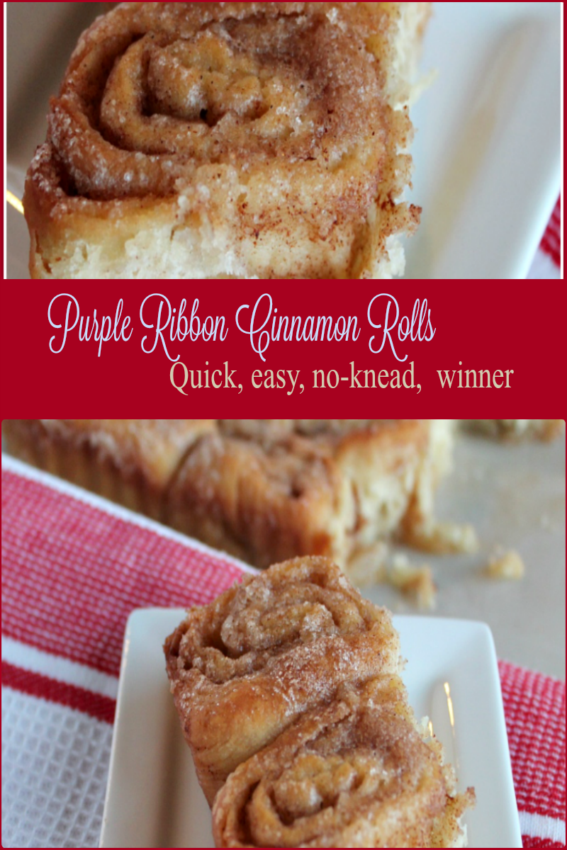 Purple Ribbon Cinnamon Rolls -- A Pinch of Joy