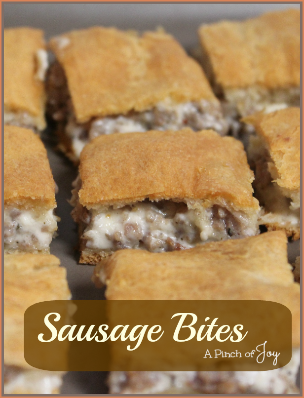 Sausage-Bites-A-Pinch-of-Joy Creamy sausage bites in a golden crust -- melt in your mouth goodness!