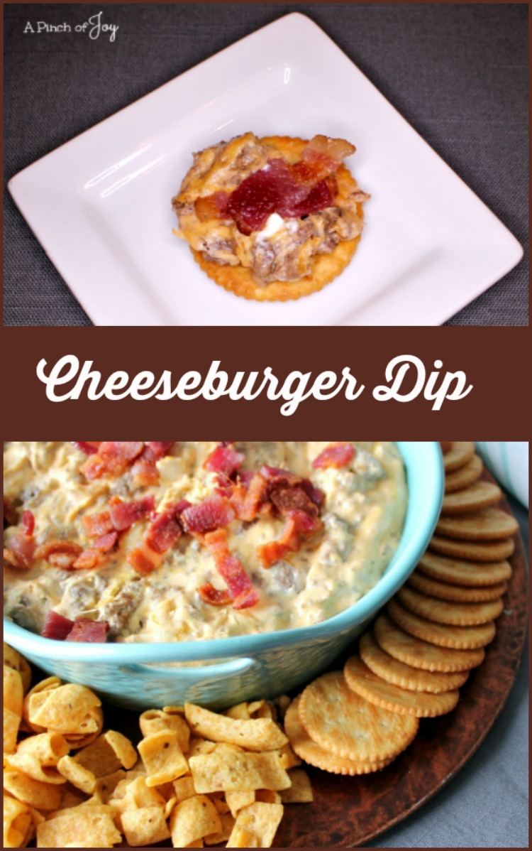 Cheeseburger Dip -- A Pinch of Joy  Everything you love about a cheeseburger in one creamy bite, topped with crispy bacon for even more goodness!