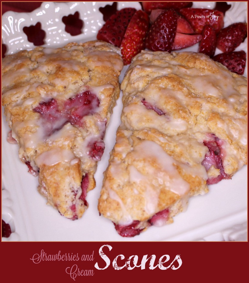 Strawberries and Cream Scones -- A Pinch of Joy  Strawberries and Cream scones are tender, golden and not too sweet, perfectly punctuated with ruby berries