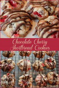 Chocolate Cherry Shortbread Cookies -- A Pinch of Joy Crisp, subtle flavored cookie studded with ruby cherries and chocolate chips!
