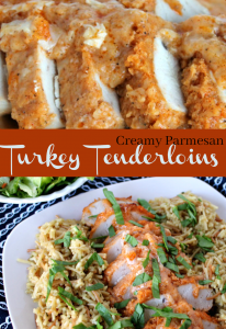 Creamy Parmesan Turkey Tenderloins. -- A Pinch of Joy Creamy Crusted Baked Turkey Tenderloins with a kick