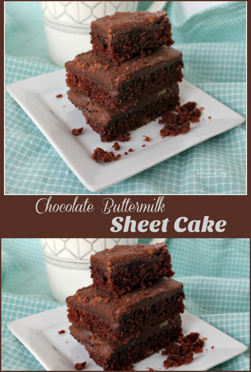 ..Chocolate Buttermilk Sheet Cake -- A Pinch of Joy #QuickEasy