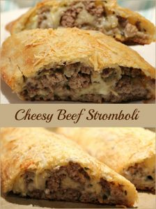 Cheesy Beef Stromboli -- A Pinch of Joy