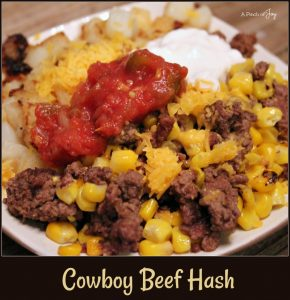 Cowboy Beef Hash -- A Pinch of Joy #Quickandeasy Meat and 'Taters dish!