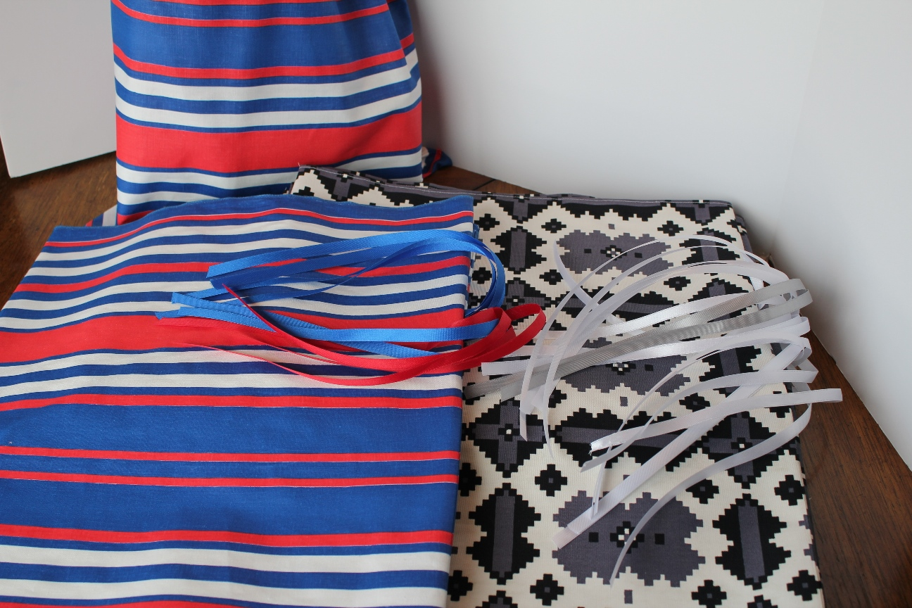 DIY Gift Bags made from tight woven cloth precut for quick sewing