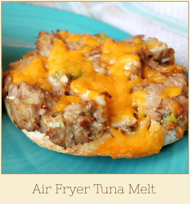Tuna Melt prepared in an Air Fryer -- A Pinch of Joy