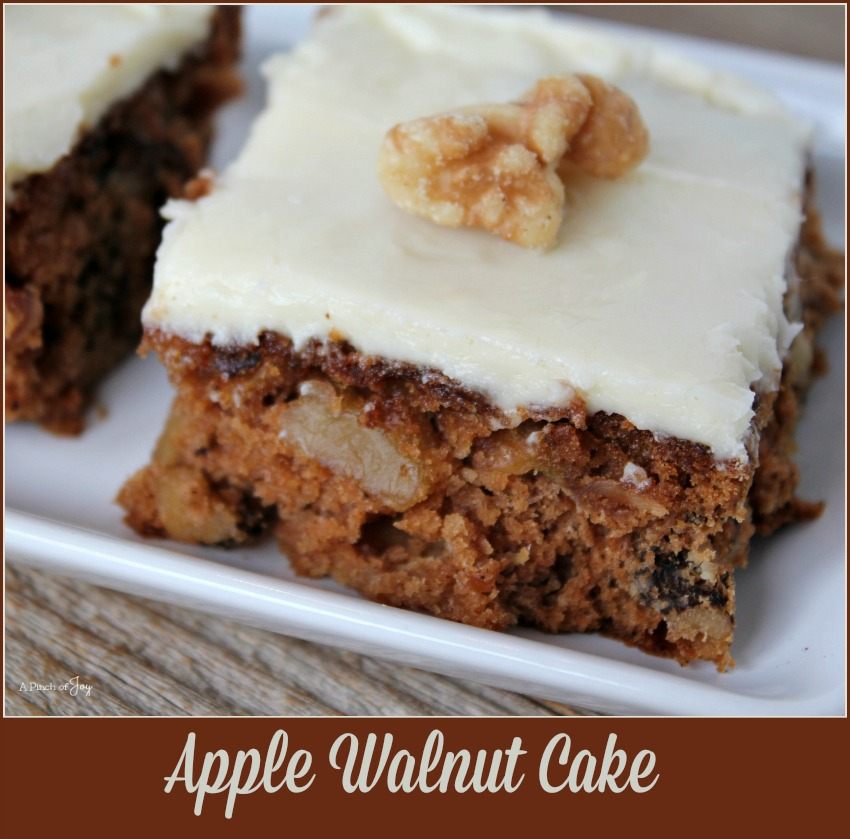 Apple Walnut Cake - A Pinch of Joy A spicy, moist cake chock full of apples chunks and walnuts!