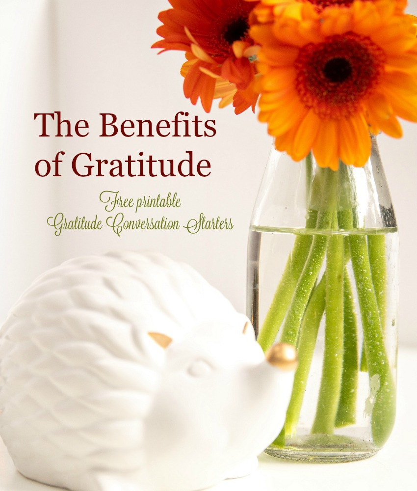 TheBenefits of Gratitude with free printable gratitude conversation starters A Pinch of Joy