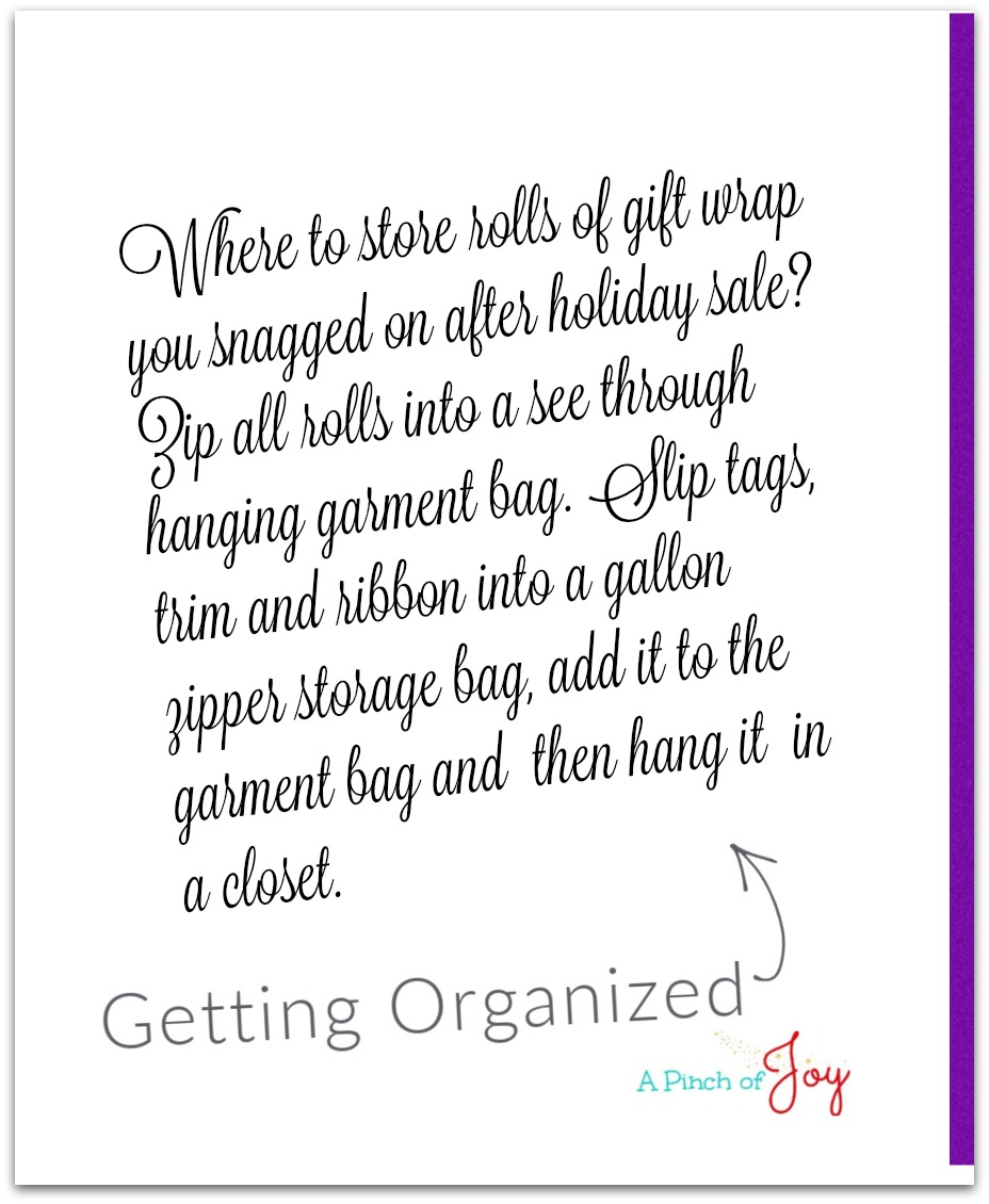 Getting Organized Tuesday Tip - A Pinch of Joy