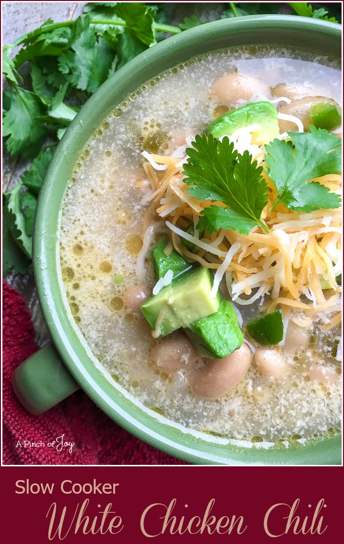 Slow Cooker White Chicken Chili -- A Pinch of Joy