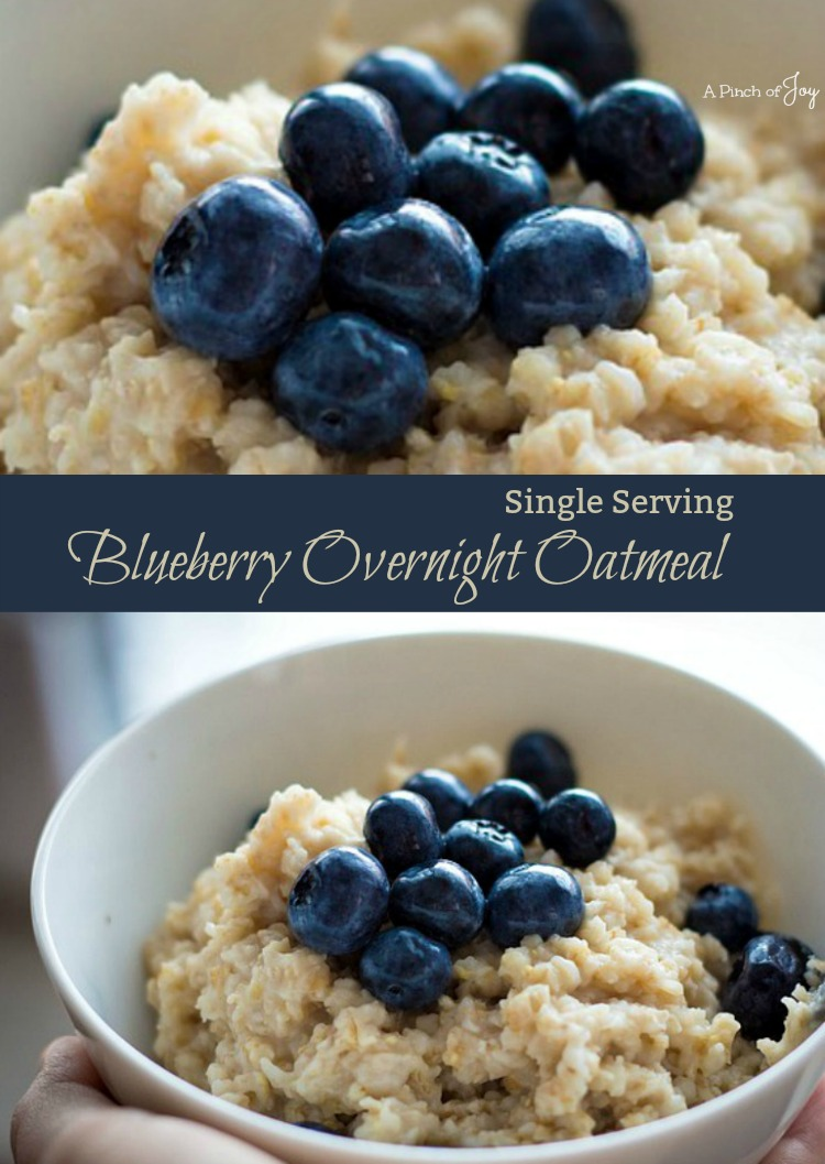 Blueberry Overnight Oatmeal Single Serving - A Pinch of Joy