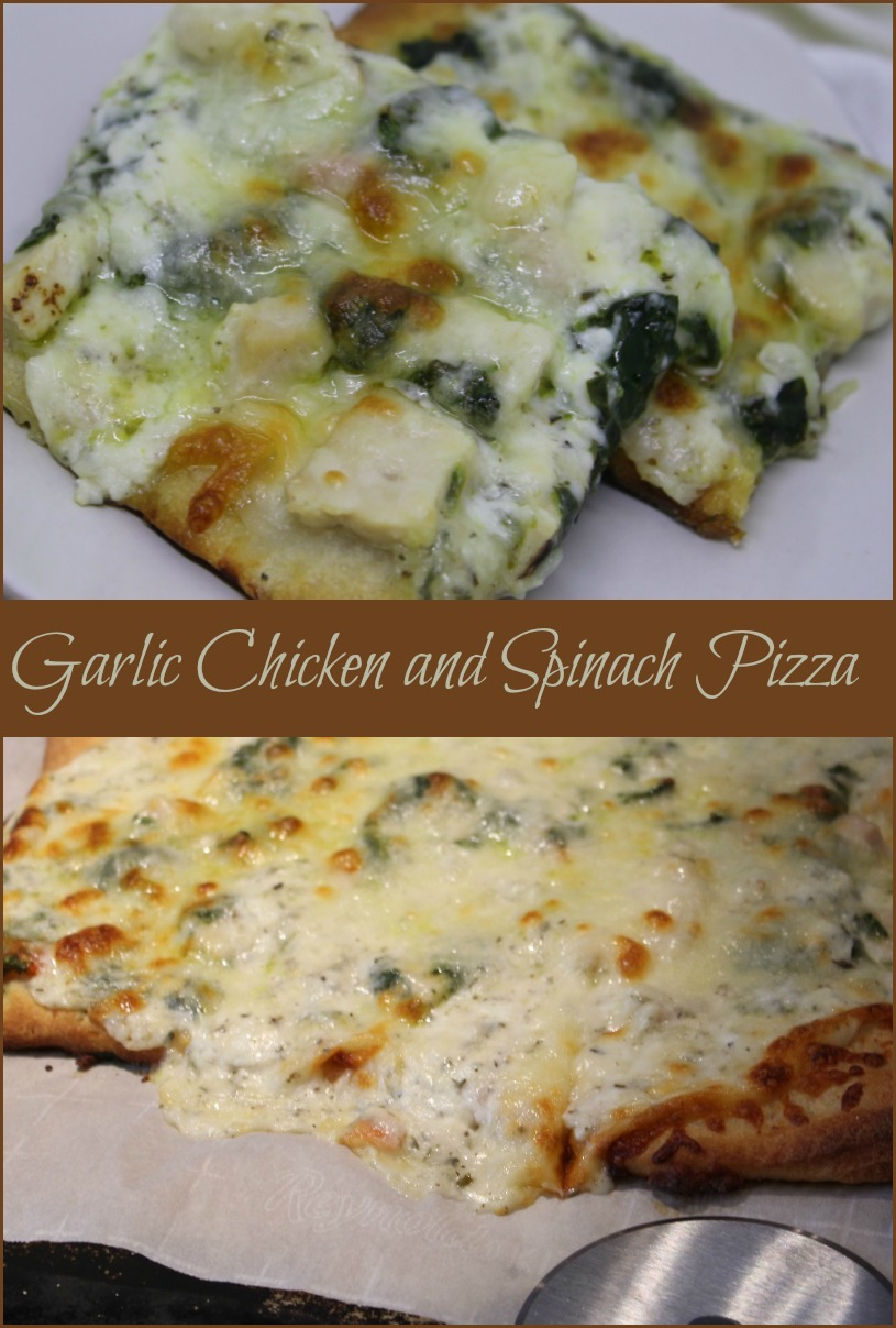 Garlic Chicken and Spinach Pizza. -- A Pinch of Joy