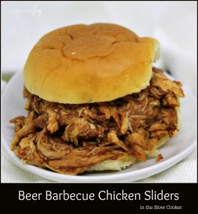 Beer Barbecue Chicken Sliders in the Slow Cooker - A Pinch of Joy