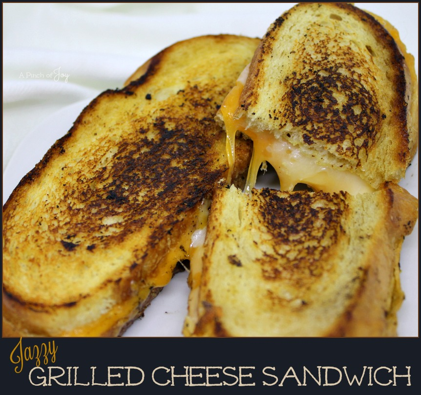Three Cheeses on bread brushed with garlic butter and a whisper of mustard _ Jazzy Grilled Cheese Sandwich A Pinch of Joy