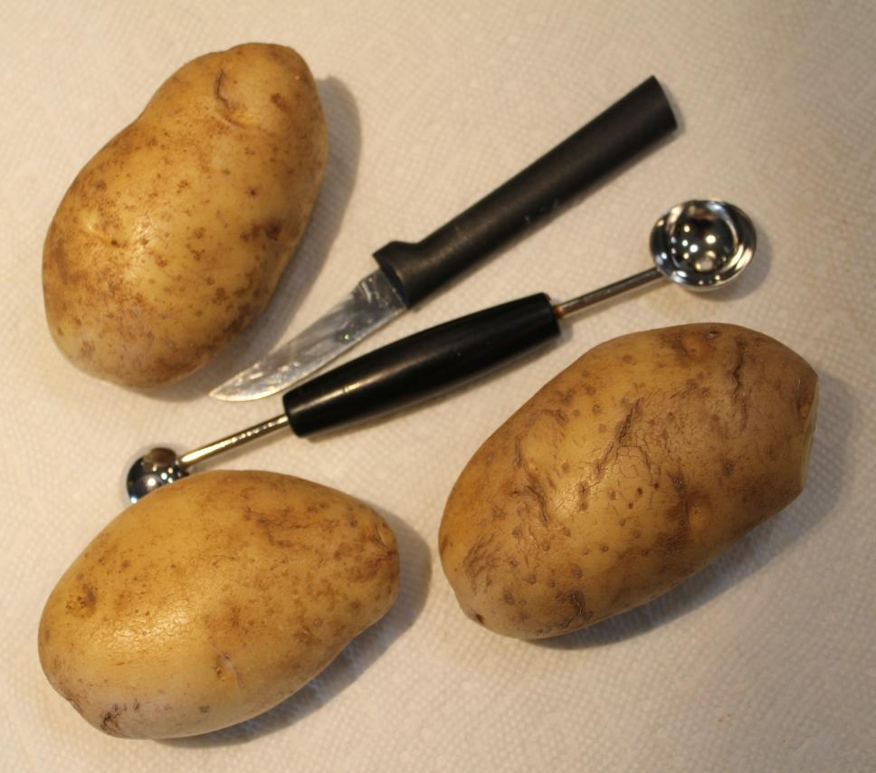 Tools needed for Halloween Shrunken Potato Heads -- A Pinch of Joy