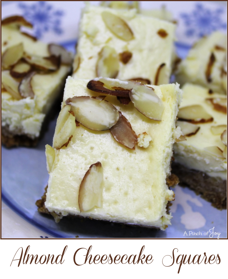 Almond Cheesecake Squares -- A Pinch of Joy