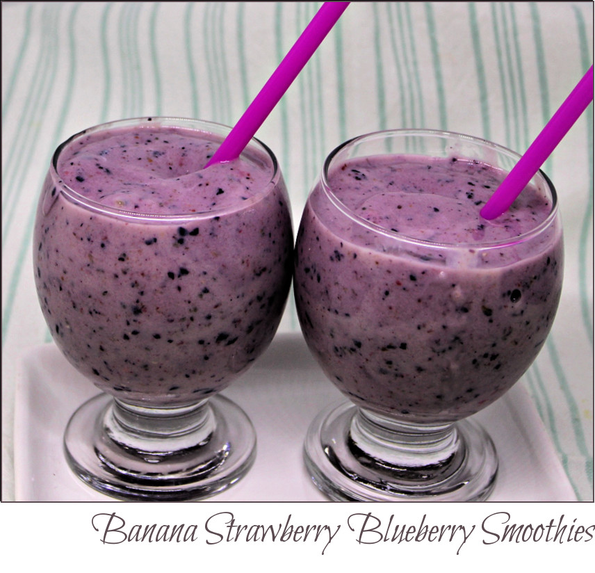 Banana Strawberry Blueberry Smoothies -- A {inch of Joy