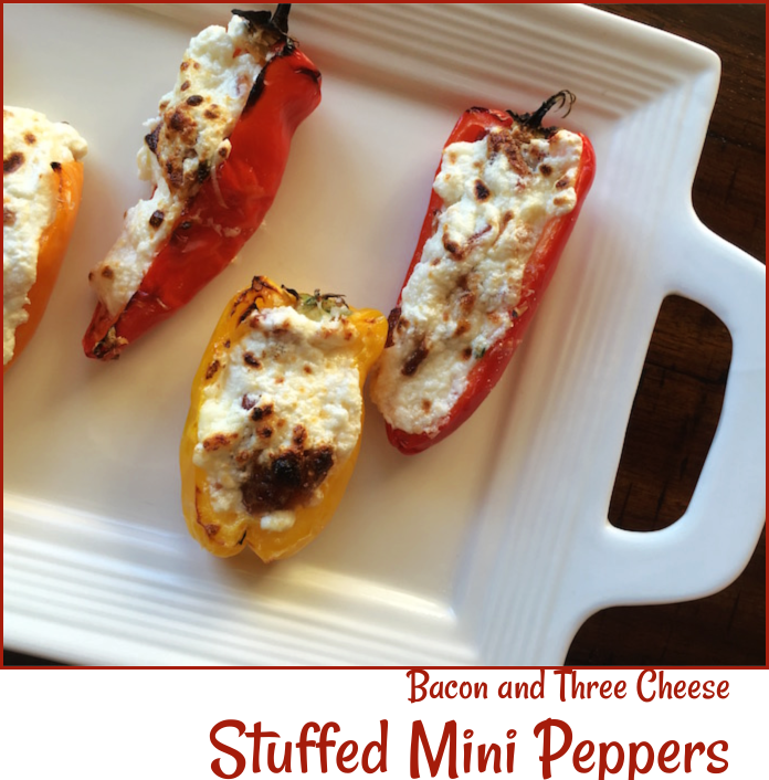 Bacon and Three Cheese Stuffed Mini Sweet Peppers -- A Pinch of Joy
