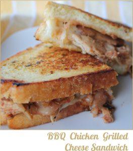 BBQ Chicken Grilled Cheese Sandwich -- A Pinch of Joy